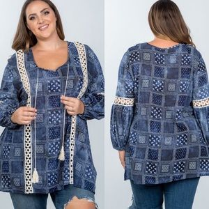 Tops - Plus size boho mix print tassel crochet trim top